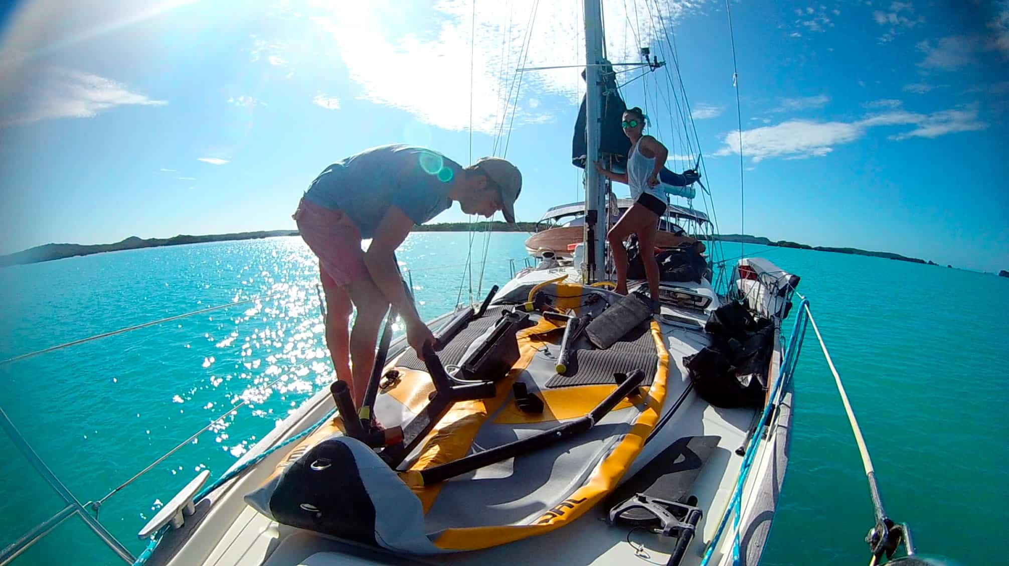 Tiwal inflatable sailboat on a Beneteau 43 yacht