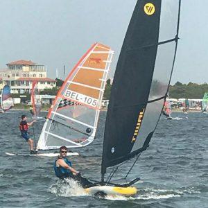 Sailing Tiwal 3 inflatable sailboat in Belgium