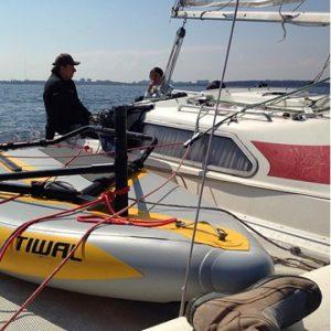 Tiwal 3 watertoy on a Catamaran