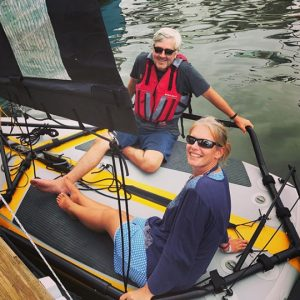 Double-handed crew on Tiwal 3 sailboat