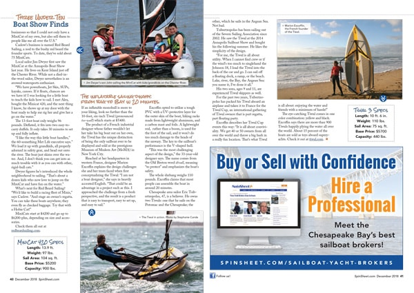 Press article about Tiwal 3 inflatable sailing dinghy in Spinsheet Magazine