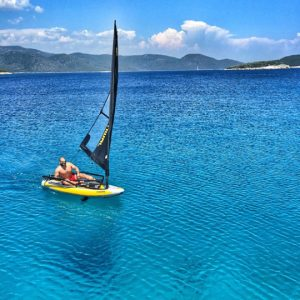 Sailing a Tiwal 3 portable sailboat in Turkey