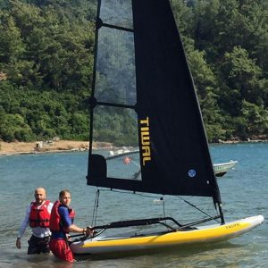 Ready to launch Tiwal 3 sailboat in Turkey