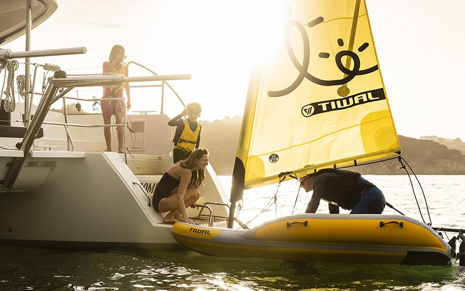 Loading a Tiwal 2 on a Cruising Catamaran