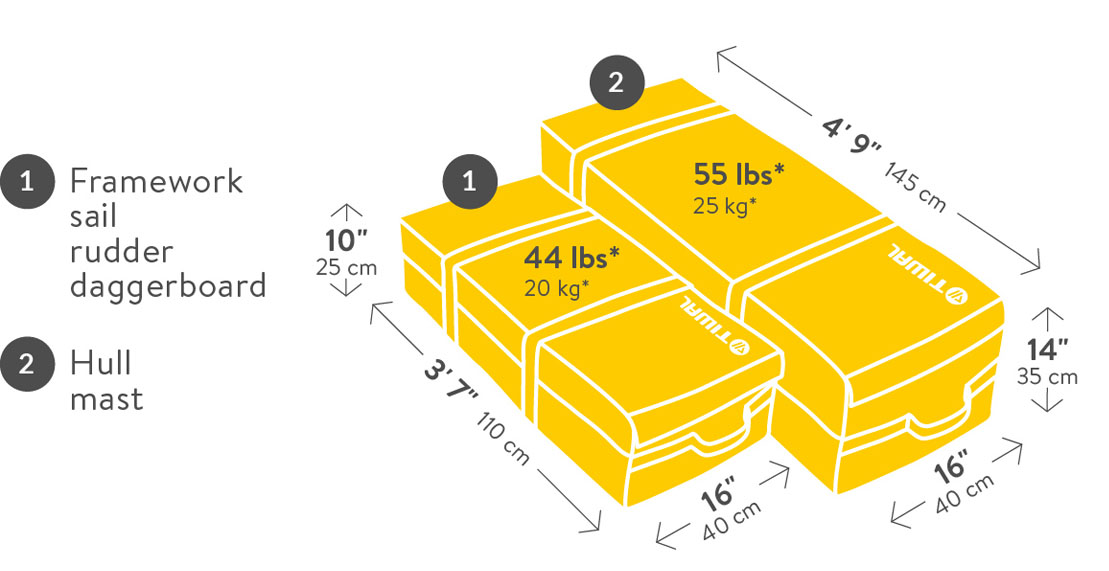 Tiwal 2 Sailboat dimensions and weight