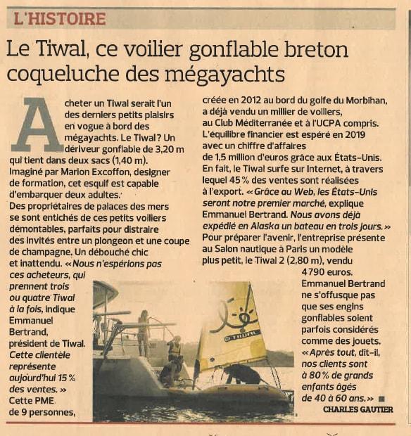 Article du Figaro Economie sur le nouveau dériveur gonflable Tiwal 2 à bord des yachts