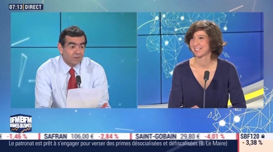 Marion Excoffon sur le plateau de Stéphane Soumier sur BFM Business