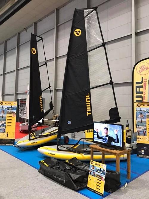 Tiwal 3 inflatable sailing dingy at the Japan International Boat Show
