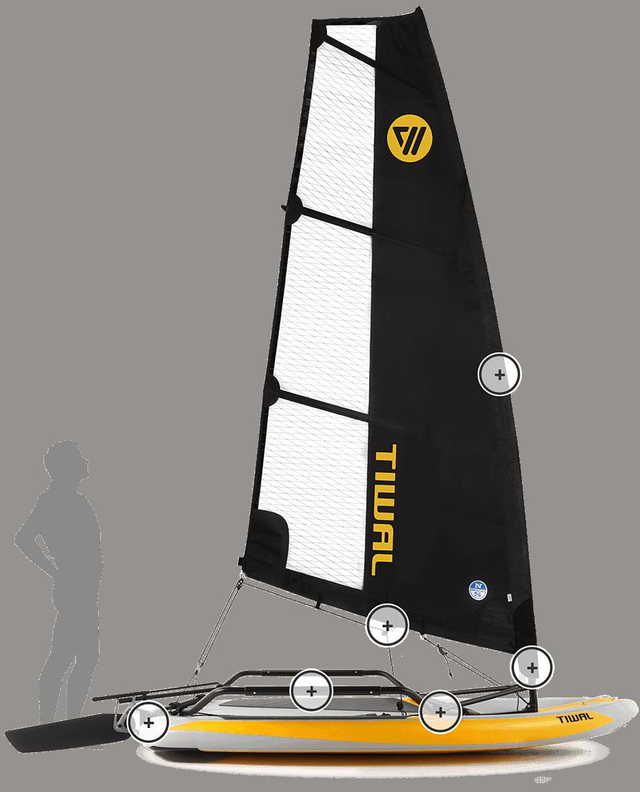 Tiwal 3 Small Sailboat closeup