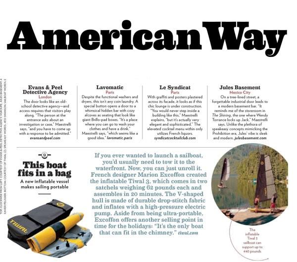 Le dériveur gonflable Tiwal dans le magazine American Way