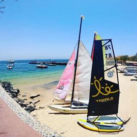 Inflatable sailing boat Tiwal 3 on Gorée Island in Senegal