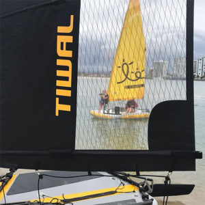Tiwal 2 Sailing Dinghy Across the Monofilm of a Tiwal 3 Sail